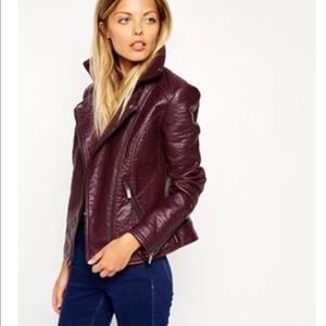 ASOS Textured Biker Jacket - Berry